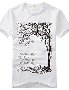 Fritid Tryk Mænds Kortærmet T-shirt Bomuld / Bomuldsblanding-Sort / Hvid / Grå