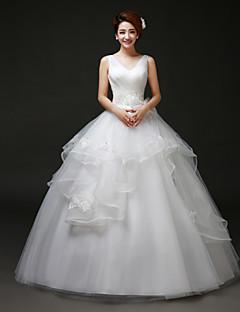 Vestido de Boda - Blanco Corte Evasé Hasta el Suelo - Escote en V Tul
