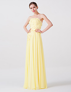 Formal Evening Dress - Yellow Sheath/Column Strapless Floor-length Charmeuse/Georgette