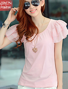 Muairen®Women'S Chiffon short-sleeved cotton T-shirt stitching