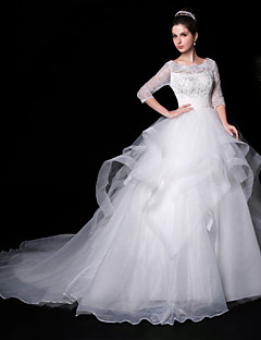 Ball Gown Wedding Dress - White Court Train Jewel Lace/Organza/Charmeuse