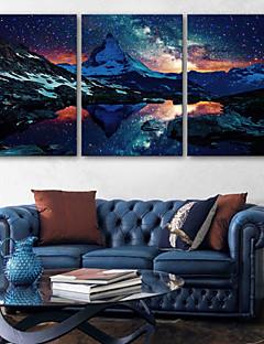 e-Home® uitgerekt geleid canvas kunst de met sneeuw bedekte bergen geleid knipperende glasvezel afdruk set van 3