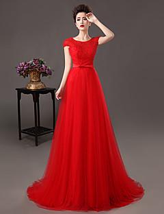 Vestito - Rosso Sera Trapezio/Tubino Decorato Sweep / treno pennello Pizzo