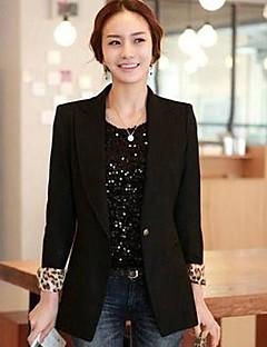 ocasional de manga longa blazer normal médio das mulheres (poliéster)