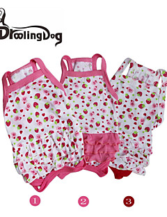 droolingdog® dejlige strawberrys mønster 100% bomuld seler nederdel til hunde (assorterede størrelser)