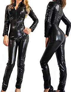 SM Queen V Collar Tights Black PU Leather Sexy Uniforms