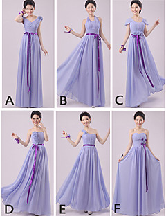 Floor-length Chiffon Bridesmaid Dress Sheath / Column Halter / One Shoulder / Strapless / Sweetheart / V-neck / Straps with