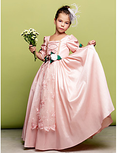 LAN TING BRIDE A-line Princess Floor-length Flower Girl Dress - Taffeta Square with Flower(s) Lace