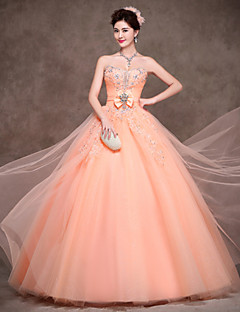 Formal Evening Dress - Lace-up Ball Gown Strapless Floor-length Satin Tulle Polyester withBow(s) Crystal Detailing Lace