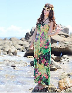 Women's Beach Swing Dress,Floral Strapless Maxi Red / Green / Orange / Purple Cotton / Nylon Summer