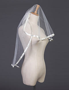 Wedding Veil Two-tier Elbow Veils Ribbon Edge 31.5 in (80cm) Tulle White / Ivory