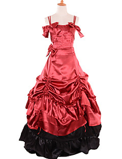 Pretty Lolita Prom Dresses Red& Blue Satin Sleeves Gothic Lolita Costumes