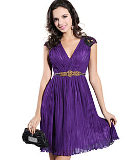 Cocktail Party Dress A-line V-neck Knee-length Chiffon Dress