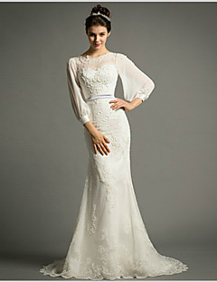 Trumpet/Mermaid Sweep/Brush Train Wedding Dress -Jewel Chiffon