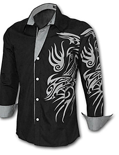 Men's Print / Solid Casual / Work / Plus Size Shirt,Cotton Blend Long Sleeve Black / Blue / Green / Purple / Red / White / Yellow