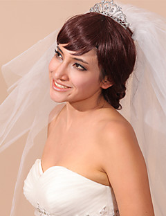 הינומות חתונה שלוש שכבות כיסויי ראש עם הינומה קצה עפרון טול לבן