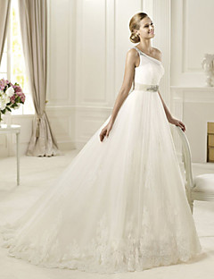 Princess Wedding Dress - White Floor-length One Shoulder Organza/Satin Chiffon