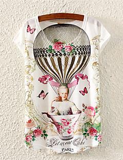 Kortærmet Kvinders Rund hals T-shirt Bomuld/Polyester/Lycra