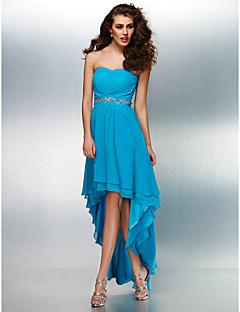Vestido - Azul Céu Festa Formal Linha-A Curação Assimétrico Georgette