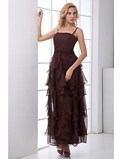 Formal Evening Dress Sheath/Column Spaghetti Straps Ankle-length Chiffon Dress