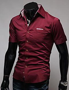 Kortærmet Herre Ensfarvet Afslappet/Hverdag Arbejde Formelle Skjorte,Bomuld Andet