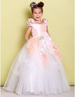 Plesové šaty Na zem Šaty pro květinovou družičku - Taft Tyl Čtvercový s Mašle Květina(y)