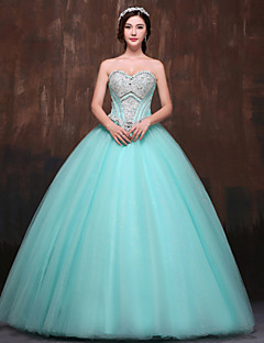 Formal Evening Dress - Petite Ball Gown Sweetheart Floor-length Satin / Tulle / Polyester