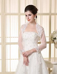 결혼식 볼레로 긴 소매 레이스 / 폴리 에스테르 우아한 랩을 흰색 볼레로 어깨를 으쓱 랩