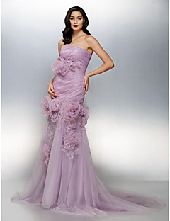 Formal Evening Dress - Lilac Fit & Flare Strapless Court Train Organza/Tulle