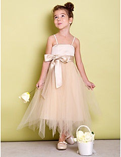 Dress A-line Spaghetti Straps Asymmetrical Satin / Tulle with Bow(s) / Sash / Ribbon