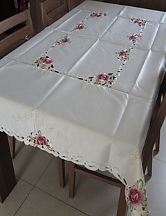 nappes blanches brodé rectangle classiques (taille: 150cmx220cm)