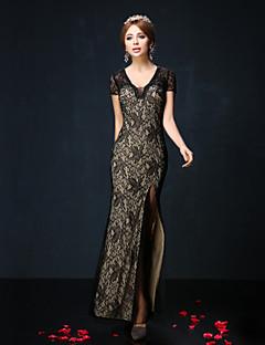Vestido - Azul Real/preto Festa Formal Sereia Decote em V Longuete Renda/Charmeuse