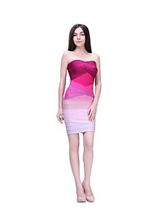 Cocktail Party Dress - Fuchsia / Regency Petite Sheath/Column Strapless Short/Mini Nylon Taffeta