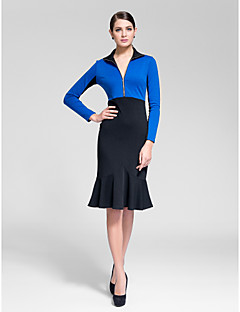 Homecoming Cocktail Party Dress Sheath/Column High Neck Knee-length Polyester
