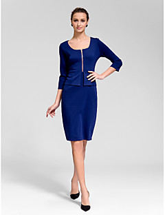 Cocktail Party Dress Sheath/Column Square Knee-length Polyester