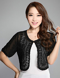 Wedding/Casual Wraps Short Sleeve Lace/Polyester Embroidery Stoles Black/Blue