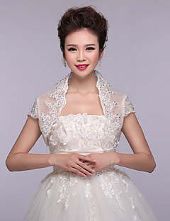 결혼식 볼레로 짧은 소매 레이스 / 폴리 에스테르 패션 자수 흰색 볼레로 어깨를 으쓱 랩 랩