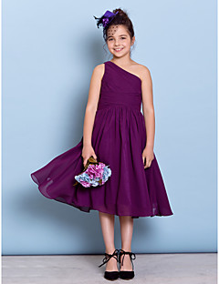 Lanting Bride® Tea-length Chiffon Junior Bridesmaid Dress A-line One Shoulder with Side Draping / Criss Cross