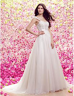 LAN 팅 라인 웨딩 드레스 - 아이보리 코트 기차 스트랩 레이스 / 얇은 명주 그물