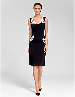 Cocktail Party Dress - Black Sheath/Column V-neck Knee-length Polyester