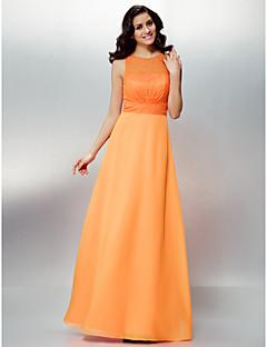 Formal Evening Dress - Orange Sheath/Column Jewel Floor-length Chiffon/Lace