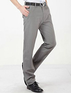 U-Shark Men's  Business Casual&Fashion Cotton  Straight Pants with  Small Check Light Gray Color