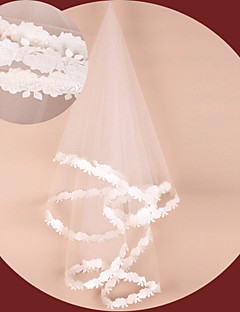 One-tier - Lace Applique Edge - Oval - Fingertip Veils ( White/Ivory/Red/Champagne , Embroidery )