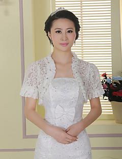 결혼식 / 파티 볼레로 짧은 소매 레이스 / 폴리 에스테르 신부는 흰색 볼레로 어깨를 으쓱 랩 랩