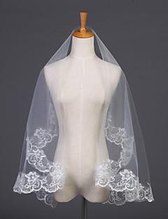 Hochzeitsschleier Einschichtig Ellbogenlange Schleier Spitzen-Saum 59,06 in (150cm) Tüll Weiß