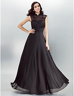 저녁 정장파티 드레스 - 블랙 A라인 바닥 길이 하이넥 쉬폰