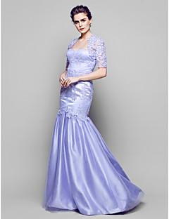 Sheath/Column Mother of the Bride Dress - Lavender Floor-length Half Sleeve Lace/Tulle