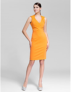 Cocktail Party Dress - Orange Sheath/Column V-neck Knee-length Polyester