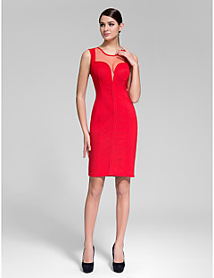 Cocktail Party Dress - Ruby/Black Sheath/Column Jewel Knee-length Polyester