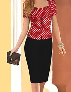 vintage decote quadrado vestido botão das mulheres, misturas de algodão até o joelho